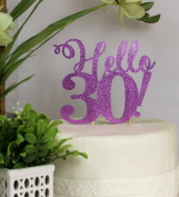 All About Details Purple Hello 30! Cake Topper