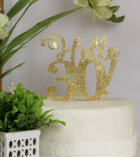 All About Details Gold Hello 30! Cake Topper