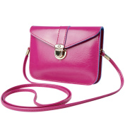 Azbro Women's PU Mini Cross Body Flap Shoulder Bag, Fuchsia One Size
