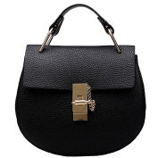Azbro Women's PU Leather Chain Round Shoulder Bag, Black One Size