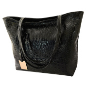 Azbro Women's PU Alligator Pattern Square Tote Bag, Black One Size
