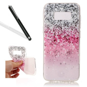 Galaxy S8 Soft Case,Case Cover for Samsung S8,Leeook Pretty Cool Creative Pretty Pink Grey Sparkle Painted Pattern Design Soft Flexible TPU Silicone Rubber Skin Bumper Cover Shock-Absorption Slim Fit Ultra Thin Stylish Protective Gel Case Cover for Sam ..
