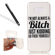 Galaxy S8 Soft Case,Case Cover for Samsung S8,Leeook Pretty Cool Funny White BITCH Quote Painted Pattern Design Soft Flexible TPU Silicone Rubber Skin Bumper Cover Shock-Absorption Slim Fit Ultra Thin Stylish Protective Gel Case Cover for Samsung Galax ..
