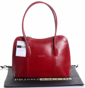 Italian Smooth Shiny Leather Hand Made Classic Style Handbag Tote Grab Bag or Shoulder Bag. Includes a Branded Protective Storage Bag