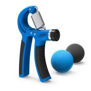 Grip Strengthener- Nosiva Forearm Exerciser & 2 Grip Stress Balls, Adjustable Resistance 10-40kg Forearm Workout Hands Wrist Fingers Trainer with Non-slip Gripper for Athletes Pianists