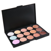 Vodisa 15 Colour Ultra Contour Kit-Face Contouring and Highlighter Palette-Beauty Cosmetics Cream Makeup Blemish Concealer Palette with Professional 11pcs Bamboo Make Up Brushes Set-Sponge Puff