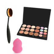 Vodisa 20 Colour Makeup Cream Contour Kit-Camouflage Concealer-Professional Face Corrector Highlighting Palette-Cosmetics Foundation Contouring Highlighter+Oval Toothbrush Brush +puff