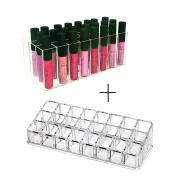 [Perfect Gift Set] FLYMEI Dust Free Acrylic Lip Gloss Lipstick Holder Case & Beauty Care Holder Makeup Organiser, Provides 24 Space Storage Per Organiser