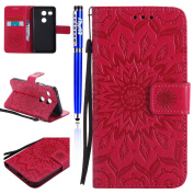FESELE LG Nexus 5X Case PU leather Cover with Sunflower Embossing Design PU Leather Bookstyle Wallet Case Magnetic Closure with Stand Function PU Leather Wallet Flip Cover Sleeve Card Slot and Banknotes Pocket with Hand Strap Lanyard For [LG Nexus 5X] ..
