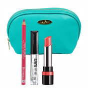 Rimmel Three Piece Lip Kit with '1000 Kisses' Lip Liner, Indian Pink, 'Oh My' Lip Gloss, Crystal Clear, and 'The Only One' Lipstick, Peachy-beachy with Aquamarine Draizee Cosmetic Bag