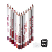 12pcs/Set Waterproof Long Lasting Matte Lipliner Pencil with Double Holes Sharpener with Cover