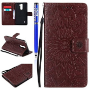 FESELE LG Stylus 2 LS775/LG G Stylo 2 Case PU leather Cover with Sunflower Embossing Design PU Leather Bookstyle Wallet Case Magnetic Closure with Stand Function PU Leather Wallet Flip Cover Sleeve Card Slot and Banknotes Pocket with Hand Strap Lanyard ..