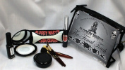 Gothic Style Final Touch Makeup Kit By Bloody Mary - Professional Quality Dark Goth Look Cosmetic Supplies Set - Black Mascara, Nail Polish, Eyeshadow, Face Powder, Lipstick, Brushes - Zippered Case