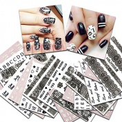 KADS 36pcs/set Nail Transfer Decals Lace & Letters Design Nail Art Water Stickers Beauty Nail Decorations Tool