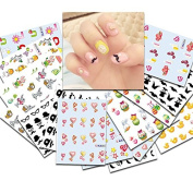 KADS 33pcs/set Nail Transfer Decals Cute Pig & Chicken & Rabbits Image Nail Art Water Stickers Beauty Nail Decorations Tool