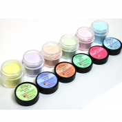"6 ADORO DECORI NAIL ART ACRYLIC POWDER SHEER PASTEL LIGHT colour "" MADE IN USA "" + FREE EARRING"