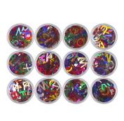 Fullkang 12pcs 26 English Alphabets Letter Flash Nail Art Stickers DIY Nail Art Decorations