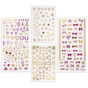 BMC By Bundle Monster Pink & Gold Metallic Foil Nail Art Stickers-Teenage Dream