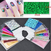 WISHNAIL 50 Sheet Starry Sky Shimmer Nail Foil Holographic Laser Paper Sticker Decoration