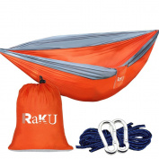 Raku 2 Person(Holding 300KG) Portable Outdoor Travelling Camping Parachute Nylon Fabric Hammock