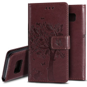 Galaxy S8 Case,PHEZEN Embossed Flower Tree Cat [Wrist Strap] Design PU Leather Magnetic Flip Wallet Case Cover with Stand & Card Slots for Samsung Galaxy S8,Brown