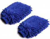 Shapenty Blue Premium Thick Auto Microfiber Chenille Super Absorbent Car Dusting Wash Mitt Cloth Fibre Cleaning Wax Glove, 2 Pack