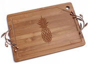"""Chloe and Madison """"Pineapple"""" Bamboo Cutting Board with Copper Branch Design Handle"""