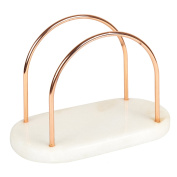 Creative Home Natural Marble & Wire Napkin Holder with Copper Finish, White