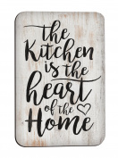 The Kitchen Is The Heart Of The Home Script Design White Wash Look 7.6cm x 5.1cm Metal Magnet
