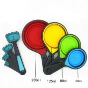 Silicone Collapsible Measuring Cup- 8 pcs Collapsible Food Grade Silicone Measuring Cups and Spoons Set