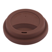 sourcingmap® Silicone Family Cafe Reusable Drinking Water Tea Coffee Mug Cup Lid Cover Chocolate Colour
