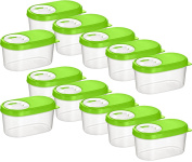 Kigima Spice Jars Bulking Container Scattering Boxes Storage Container 0.14l Set of 12 Green