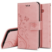 Galaxy S8 Case, Galaxy S8 Wallet Case [Stand Feature] Emboss Butterfly Flower Premium Protective PU Leather Flip Folio Magnetic Cover w/ Card Slot Pocket for Samsung Galaxy S8, Light Pink