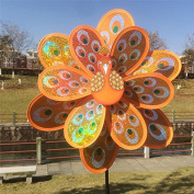 Techinal 1 Pcs Windmills Decorative, Double Layer Peacock Sequins Windmill Colourful Wind Spinner Kids Toy Home Garden Decor ( Orange )