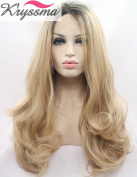 K'ryssma Natural Looking Ombre Blonde Lace Front Wigs for Women Long Wavy Realistic Synthetic Hair Dark Roots Best Wigs UK Half hand Tied Heat Resistsnt Fibre 60cm