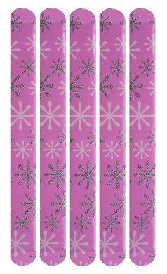 FunkyNailFiles Snow Flake on Pink (pack of 5 cushioned Emery boards)
