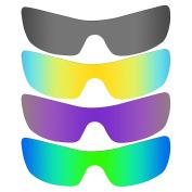 MRY 4 Pairs polarised Replacement Lenses for Oakley Batwolf Sunglasses-Black Iridium/24K Gold/Plasma Purple/Emerald Green