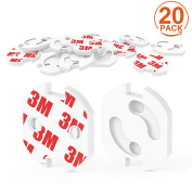 [20 Pack] Plug Socket Covers, CANWN Strong Adhesive Baby Safety Plug Protectors Childproof Outlet Covers