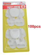 100 x SOCKET COVERS - 3 PIN SAFETY WALL BLANKING PROTECTOTS - .