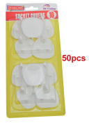 50 x SOCKET COVERS - 3 PIN SAFETY WALL BLANKING PROTECTOTS - .