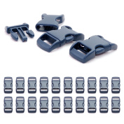 Ganzoo Set of 20 x 3/8 Inch Click-Release Catches / Buckle Clips ( Click Buckles ) Made of Plastic for Paracord Bracelets and Cords etc. / 29 mm x 15 mm / Navy Blue