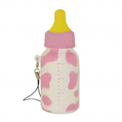 Generic Cute Soft Milk Bottle Squishy Toys Cell Phone Charms Bag Strap Pendant Pink