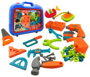Power Tools 46-Piece Construction Toy Tool Set for Kids - Pretend Play Construction Tools, Electronic Cordless Drill and Workshop Accessories