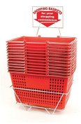 Shopping Basket Set Red with Stand and Sign