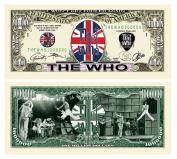 "5 The Who Million Dollar Collectible Bills with Bonus ""Thanks a Million"" Gift Card Set"