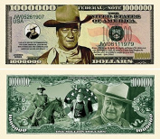 "John Wayne Million Dollar Bill with Bonus ""Thanks a Million"" Gift Card Set and Clear Protector"