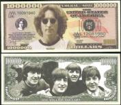 """The Beatles Million Dollar Novelty Bill John Lennon with Bonus """"Thanks a Million"""" Gift Card Set and Clear Protector"""