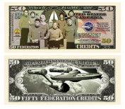 "10 Limited Edition Star Trek 50th Anniversary Collectible Bills with Bonus ""Thanks a Million"" Gift Card Set"
