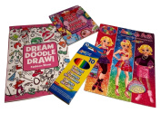 Easter Basket Filler; Dream, Doodle, Draw Fashion Show Colouring & Activity Book, Sticker Doll Book w/ Lisa Frank Artwork Designs, Flower Fairies Pick-up Pairs Card Game, Coloured Pencils; 4-pc