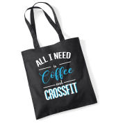 Smartypants All I need is coffee and crossfit funny gym workout fitness text printed BLACK tote bag